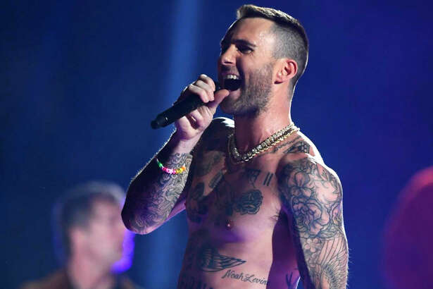 Adam Levine of Maroon 5 performs during the Pepsi Super Bowl LIII Halftime Show at Mercedes-Benz Stadium on February 3, 2019 in Atlanta, Georgia. Maroon 5 will perform in the Woodlands in 2020.