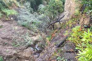 A landslide along a San Bruno hillside in Crestmoor Canyon is threatening San Bruno Avenue.