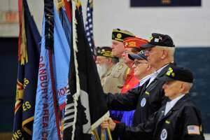 The color guard for the annual Pearl Harbor Memorial Service at the Danbury War Memorial. Wednesday, December 7, 2016, in Danbury, Conn. The Marine Corps League Hat City Detachment hosted the service. Wednesday, December 7, 2016, in Danbury, Conn.