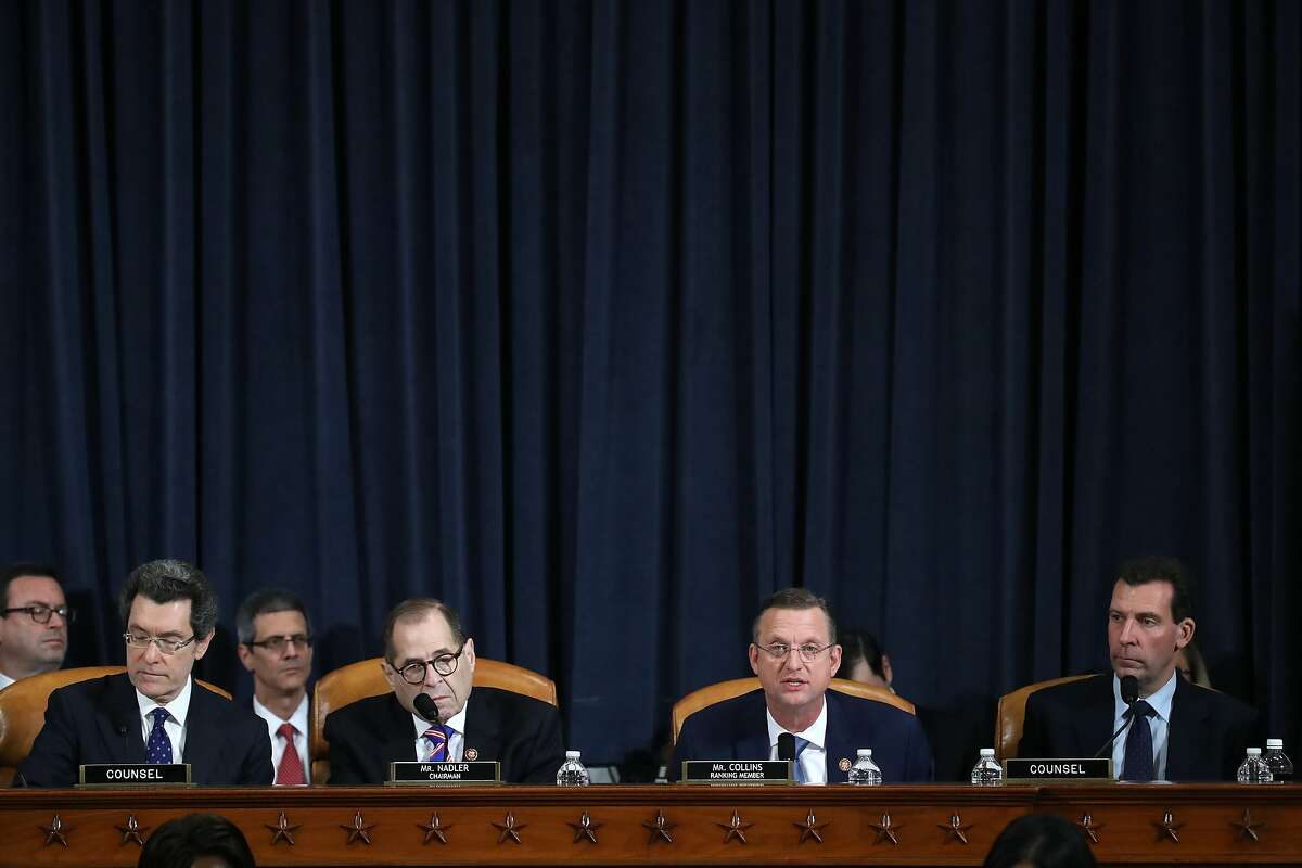 House Judiciary Committee Chairman Jerrold Nadler (D-NY) (2nd-L) looks on as ranking member Rep. Doug Collins (R-GA) (2nd-R) speaks before constitutional scholars testify before the House Judiciary Committee in the Longworth House Office Building on Capitol Hill December 4, 2019 in Washington, DC. This is the first hearing held by the Judiciary Committee in the impeachment inquiry against U.S. President Donald Trump, whom House Democrats say held back military aid for Ukraine while demanding it investigate his political rivals. The Judiciary Committee will decide whether to draft official articles of impeachment against President Trump to be voted on by the full House of Representatives.