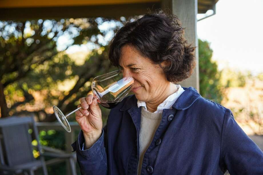 Winemaker Francoise Peschon smells a glass of wine for a portrait at Vine Hill Ranch vineyard in Oakville, California, on Tuesday, Dec. 3, 2019. Photo: Gabrielle Lurie / The Chronicle