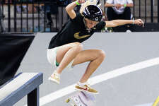 """Texas teenager Kendra Long, whose nickname as a black belt in karate was """"The Machine,"""" is an Olympic hopeful in street skateboarding. She is shown competing in Los Angeles in July."""