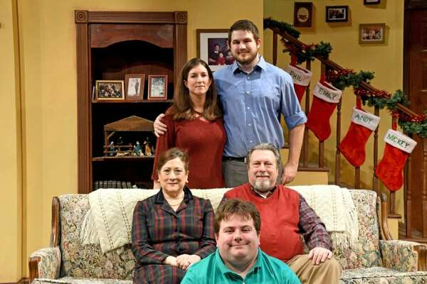 "The cast of ""Greetings"" at Curtain Call Theatre. Front Row - Ryan Palmer, Secton Row - Susan Dantz & Steve Leifer, Back Row - Sarah Wasserbach & Chad Reid (Photo Credit Michael Farrell)"