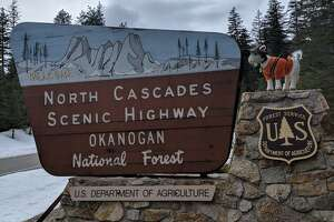 Sign greets travelers to the North Cascades Highway.