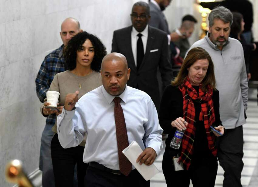 Speaker Carl Heastie walks to his office following an Assembly meeting on Wednesday, Dec. 4, 2019, at the Capitol in Albany N.Y. (Will Waldron/Times Union)