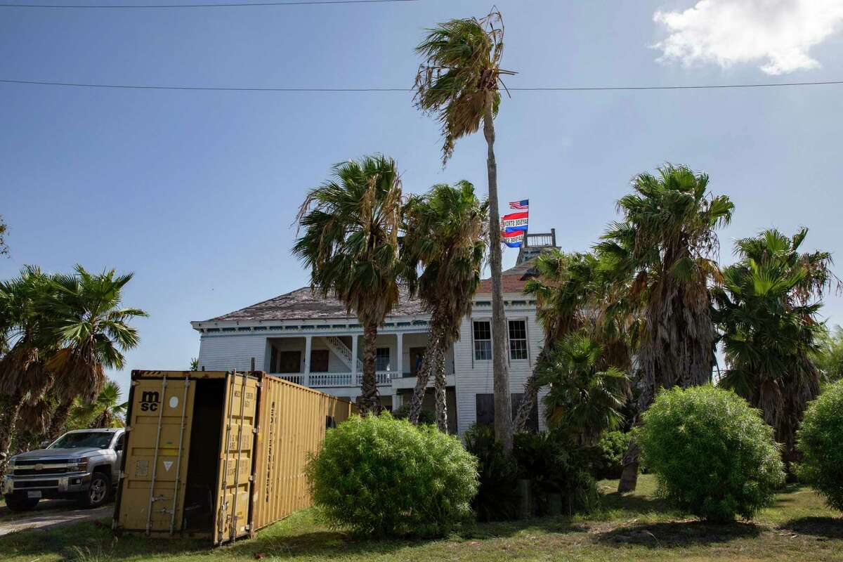 The John Howland Wood House in Bayside, Texas, which is being restored by Jon Breeden of San Antonio. Breeden scraped together just enough cash in June to buy the Wood House after visiting it once with a friend and researching it online repeatedly. Now the 36-year-old is grappling with how to restore the 1875 structure that Hurricane Harvey literally made lean to one side. (Shelby Miller/The Victoria Advocate via AP)