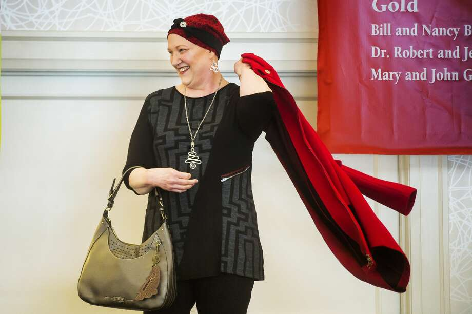 Wendy High models an outfit during Cancer Services of Midland's 28th Annual Holiday Luncheon & Style Show Wednesday, Dec. 4, 2019 at Midland Country Club. (Katy Kildee/kkildee@mdn.net) Photo: (Katy Kildee/kkildee@mdn.net)