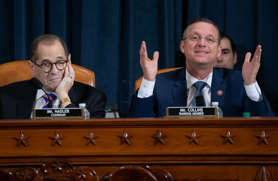 WASHINGTON, DC DECEMBER 4: Ranking member Rep. Doug Collins (R-GA) speaks as Chairman Rep. Jerrold Nadler (D-NY) listens during testimony by constitutional scholars before the House Judiciary Committee in the Longworth House Office Building on Capitol Hill December 4, 2019 in Washington, DC. This is the first hearing held by the Judiciary Committee in the impeachment inquiry against U.S. President Donald Trump, whom House Democrats say held back military aid for Ukraine while demanding it investigate his political rivals. The Judiciary Committee will decide whether to draft official articles of impeachment against President Trump to be voted on by the full House of Representatives. Photo: Pool / Getty Images