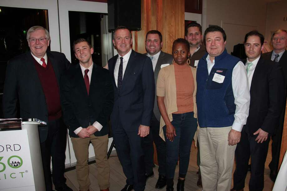 """Members of the Stamford Transportation Department were given awards on Tuesday, Dec. 4, at the 2019 Change Makers Awards. Traffic Engineer Garrett Bolella, second from left, was awarded the """"emerging leader award."""" Photo: Contributed Photo"""