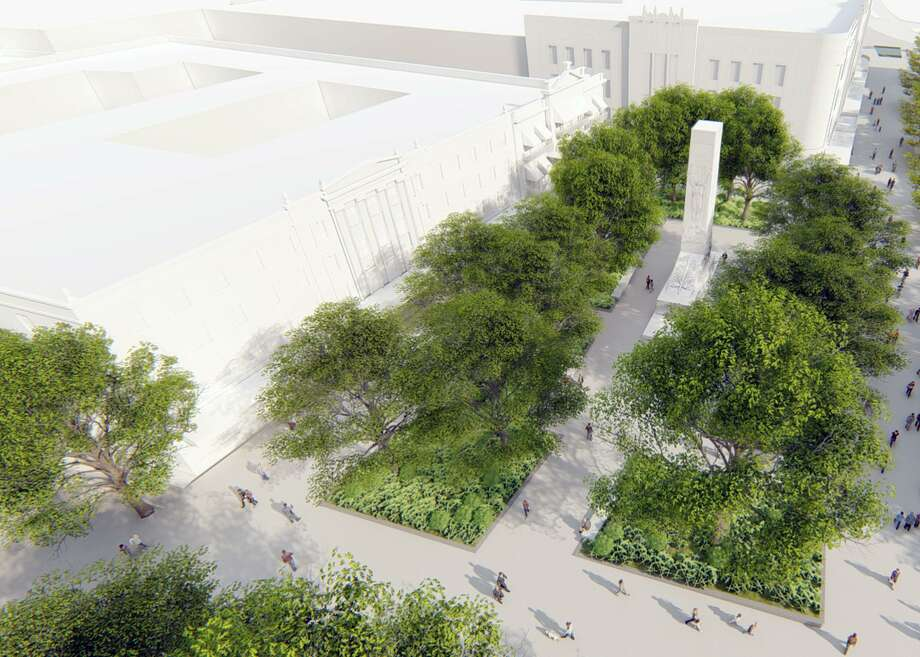 The first phase of the long-term Alamo Plaza project seeks to relocate the 1930s Cenotaph during 2020. The monument memorializing the nearly 200 known Alamo defenders will be moved a few hundred feet south from its current location to the approximate site of a 1970s bandstand, near the Menger Hotel and Shops at Rivercenter mall. The bandstand already has been disassembled and put in storage to later be moved to a local city park. Photo: Illustration Courtesy Of Reed Hilderbrand