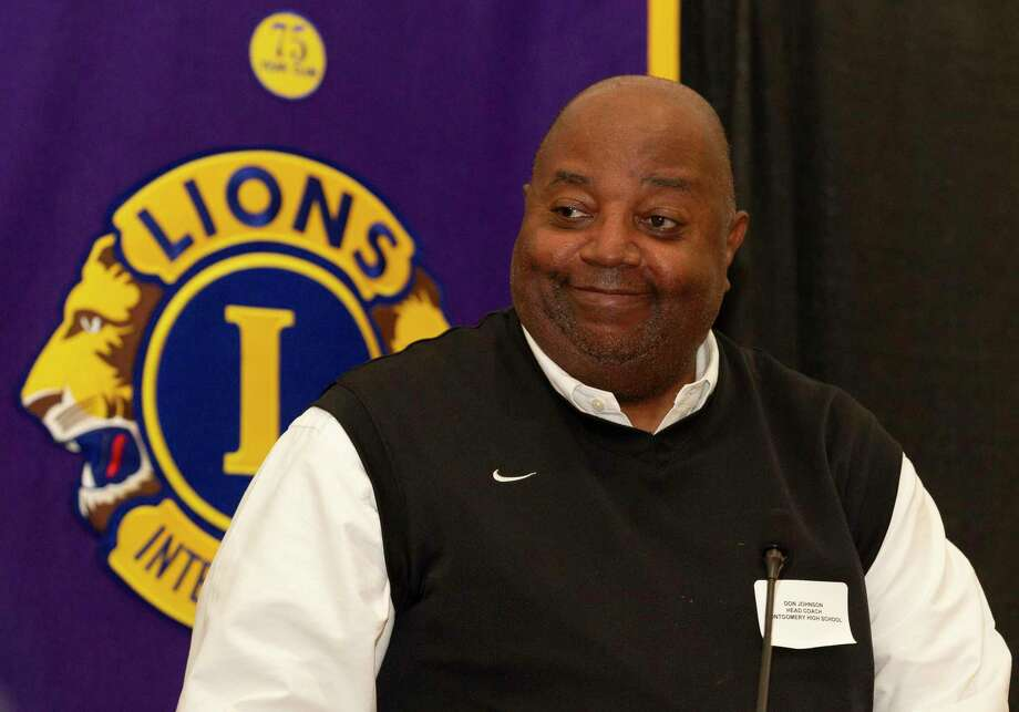Montgomery head coach Don Johnson speaks during the Conroe Noon Lions Club's annual Roundball Roundup with area boys basketball coaches at the Lone Star Convention & Expo Center, Wednesday, Dec. 4 2019, in Conroe. Photo: Jason Fochtman, Houston Chronicle / Staff Photographer / Houston Chronicle