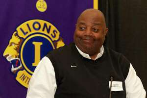 Montgomery head coach Don Johnson speaks during the Conroe Noon Lions Club's annual Roundball Roundup with area boys basketball coaches at the Lone Star Convention & Expo Center, Wednesday, Dec. 4 2019, in Conroe.