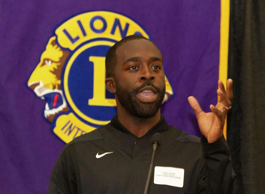 Caney Creek head basketball coach Randy Appiah speaks during the Conroe Noon Lions Club's annual Roundball Roundup with area boys basketball coaches at the Lone Star Convention & Expo Center, Wednesday, Dec. 4 2019, in Conroe. Photo: Jason Fochtman, Houston Chronicle / Staff Photographer / Houston Chronicle