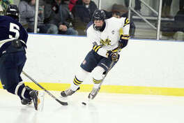 Manistee's Jake Lamm controls the puck during the Chippewas' 3-2 loss to Cadillac on Tuesday at West Shore Community Ice Arena.