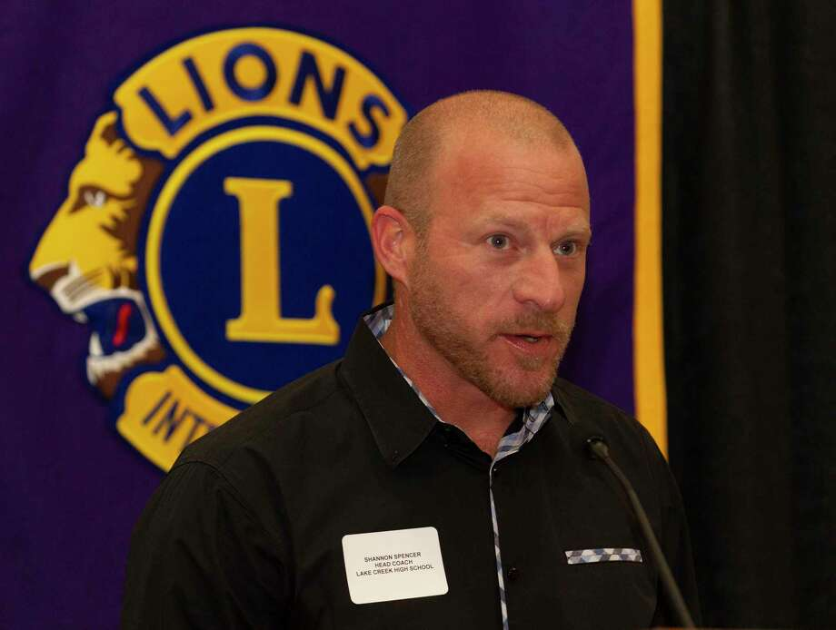 Lake Creek head coach Shannon Spence speaks during the Conroe Noon Lions Club's annual Roundball Roundup with area boys basketball coaches at the Lone Star Convention & Expo Center, Wednesday, Dec. 4 2019, in Conroe. Photo: Jason Fochtman, Houston Chronicle / Staff Photographer / Houston Chronicle