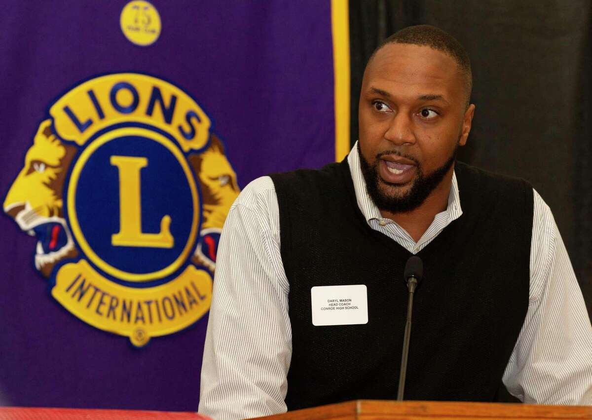 Conroe head coach Daryl Mason speaks during the Conroe Noon Lions Club's annual Roundball Roundup with area boys basketball coaches at the Lone Star Convention & Expo Center, Wednesday, Dec. 4 2019, in Conroe.