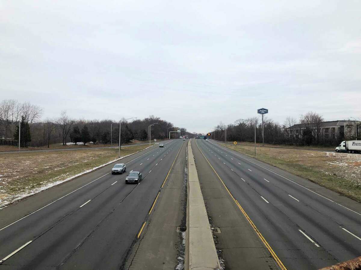 Traffic along Interstate 95 in Milford seen from the Plains Road overpass.