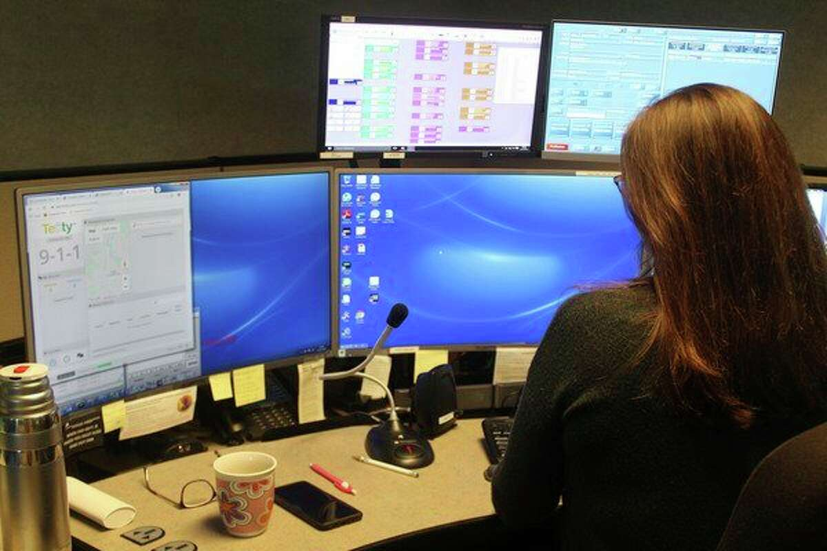 Theresa Vanatta, a dispatcher with Meceola Consolidated Central Dispatch, said the new text to 911 option could be a valuable tool in helping keep people safe in Mecosta and Osceola counties. (Pioneer photo/Taylor Fussman)