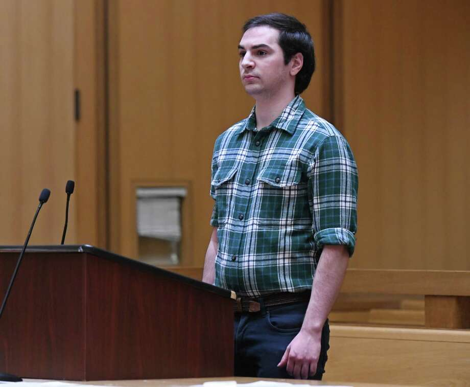 In this file photo, Brandon Wagshol, 22, of Norwalk, appears for a pre-trail hearing at Connecticut Superior Court in Stamford, Conn. Wednesday, Dec. 4, 2019. Wagshol is being charged with four felony counts of illegal possession of large-capacity magazines. Police raided his father's apartment after an investigation revealed Wagshol made a social media post showing an interest in mass shootings, according to a search warrant. Inside the apartment, police seized a .40 caliber handgun, a .22 caliber rifle, laser scope, body armor, tactical gear, and ammunition. Photo: Tyler Sizemore / Hearst Connecticut Media / Greenwich Time