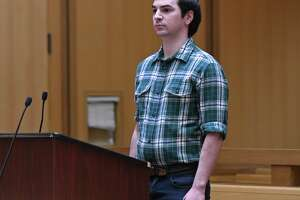 Brandon Wagshol, 22, of Norwalk, appears for a pre-trail hearing at Connecticut Superior Court in Stamford, Conn. Wednesday, Dec. 4, 2019. Wagshol is being charged with four felony counts of illegal possession of large-capacity magazines. Police raided his father's apartment after an investigation revealed Wagshol made a social media post showing an interest in mass shootings, according to a search warrant. Inside the apartment, police seized a .40 caliber handgun, a .22 caliber rifle, laser scope, body armor, tactical gear, and ammunition.