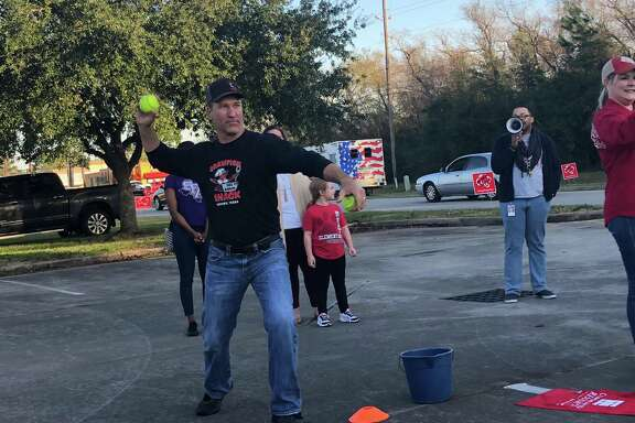 In addition to taking a shift in the dunking booth during the Crosby Education Foundation's Dunk-A-Dude fundraiser on Dec. 2, Dan Meaux from the Crawfish Shack dunked several participants.