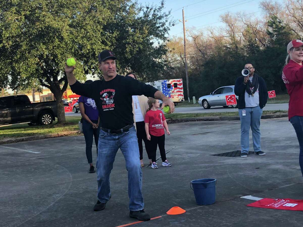 In addition to taking a shift in the dunking booth during the Crosby Education Foundation's Dunk-A-Dude fundraiser on Dec.2, Dan Meaux from the Crawfish Shack dunked several participants.