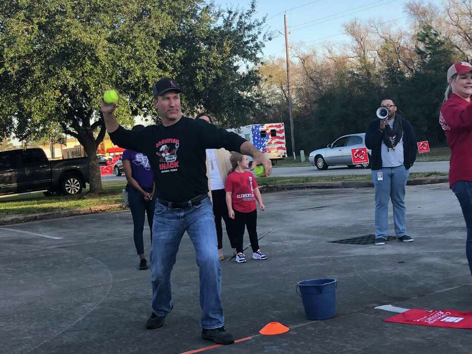 In addition to taking a shift in the dunking booth during the Crosby Education Foundation's Dunk-A-Dude fundraiser on Dec.2, Dan Meaux from the Crawfish Shack dunked several participants. Photo: Elliott Lapin / Staff Photo