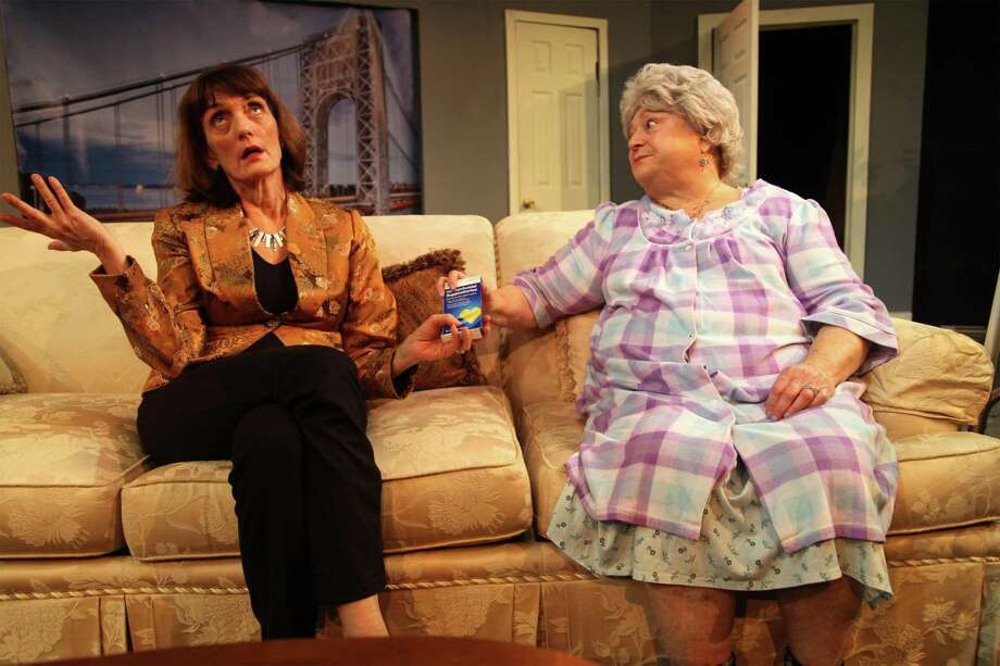"""Randye Kaye, left, and Andrea Garmun in a scene from the Westport Community Theatre's production of """"The Tale of the Allergist's Wife,"""" at Westport Town Hall through Dec. 15. Photo: Westport Community Theatre / Contributed Photo"""