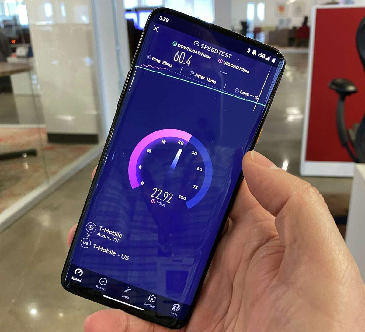 T-Mobile says its 5G speeds are about 20 percent faster than those of 4G LTE.