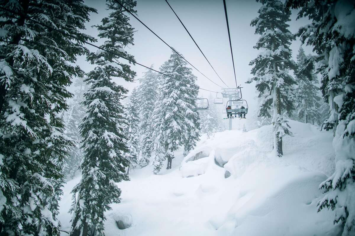 Skiers enjoy a foggy day at Sierra-at-Tahoe, which bills itself as the closest ski resort to the Bay Area and Sacramento.