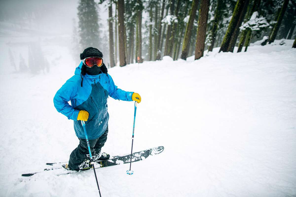 Skiers enjoy a foggy day at Sierra At Tahoe Resort, Calif. on December 4th, 2019.