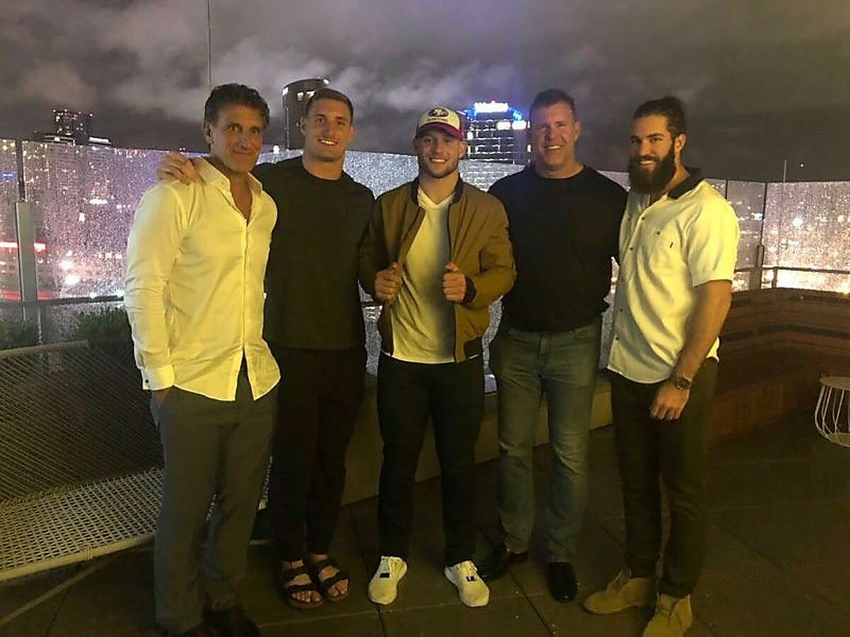 Nick Bosa comes from an accomplished football family. From left: Nick's dad John, who played for the Miami Dolphins; brother Joey, who plays for the Chargers; Nick; his uncle, Eric Kumerow, who played for the Dolphins; and Jake Kumerow, a wide receiver for the Packers.