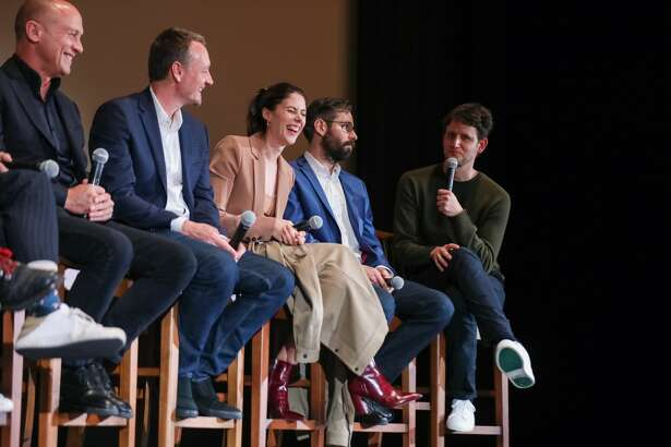 Show creator Mike Judge, writer Alec Berg, and actors Amanda Crew, Martin Starr, and Zach Woods speak onstage on October 16, 2019 in San Francisco, California.