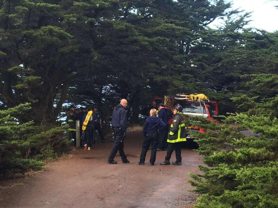 A man rescued by firefighters after he fell 200 feet down a cliff at Lands End in San Francisco on Wednesday has died, fire officials said. Photo: San Francisco Fire Department Via Twitter