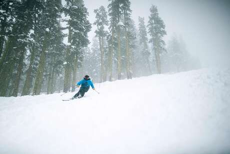 Skiers enjoy a foggy day at Sierra At Tahoe Resort, Calif. on December 4th, 2019. Photo: AJ Marino / Special To The Chronicle