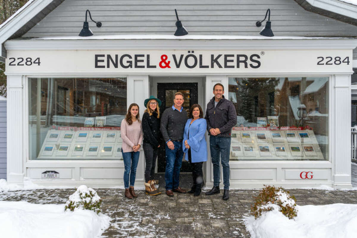 Keir Weimer (far right) has joined Engel & Volkers in Lake Placid. From left to right, Lexi Piraino, Kristin Dowling, both members of Weimer's team; and John and Colleen Holmes, the broker-owners of the brokerage. (Photo provided)