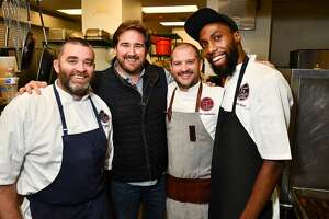 "From left: Chefs Bobby Matos, Drake Leonards, Ryan Lachaine and Kevin Hart at the ""Come to the Table"" dinner benefiting The Beacon Tuesday Dec. 04,2019."