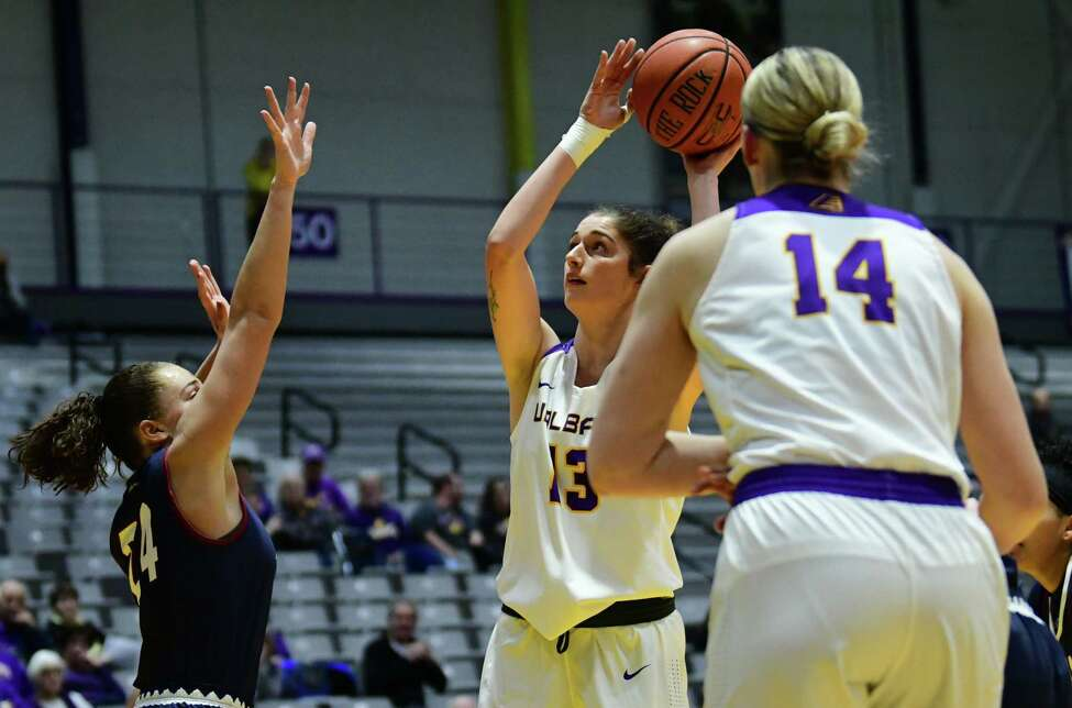 University at Albany's Lucia Decortes puts up a shot during a basketball game against Fairleigh Dickinson at SEFCU Arena on Wednesday, Dec. 4, 2019 in Albany, N.Y. (Lori Van Buren/Times Union)