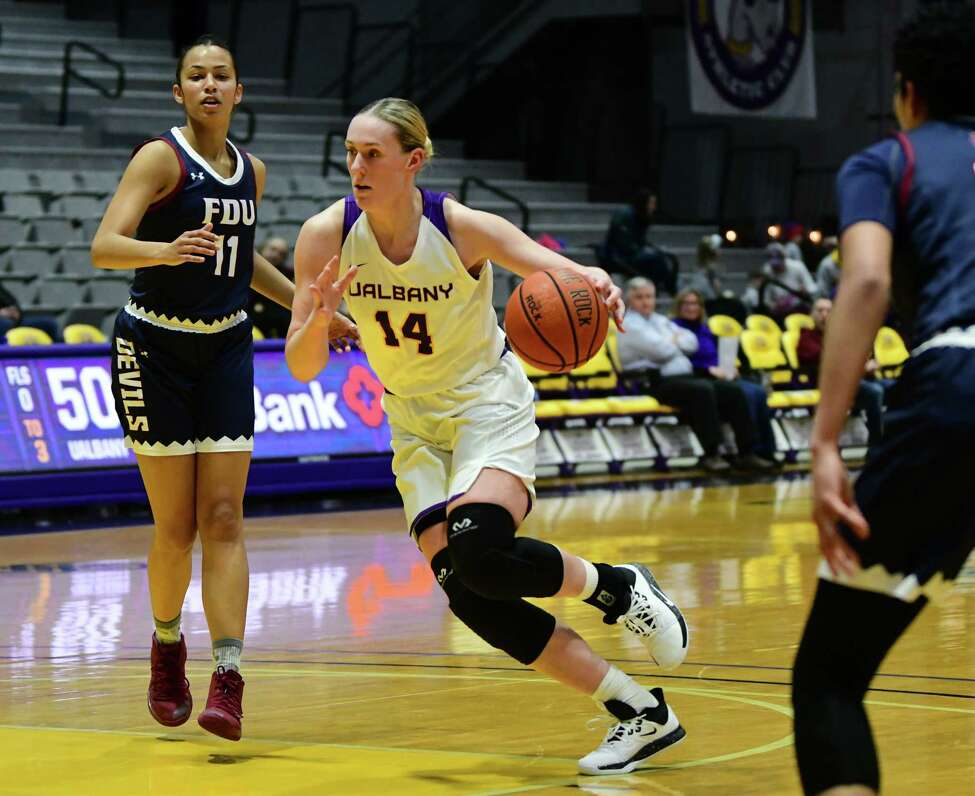 University at Albany's Amanda Kantzy drives to the hoop during a basketball game against Fairleigh Dickinson at SEFCU Arena on Wednesday, Dec. 4, 2019 in Albany, N.Y. (Lori Van Buren/Times Union)