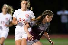 Stillwater's Brooke Picketts (3) moves the ball against Mechanicville during a Section II girls' high school soccer game in Stillwater, N.Y., Monday, Sept.16, 2019. (Hans Pennink / Special to the Times Union)