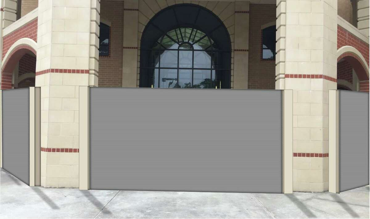 Humble ISD hopes to install $30 million flood gates around doors and windows to protect Kingwood High School from catastrophic rain storms. (Photo illustration courtesy of Humble ISD.)