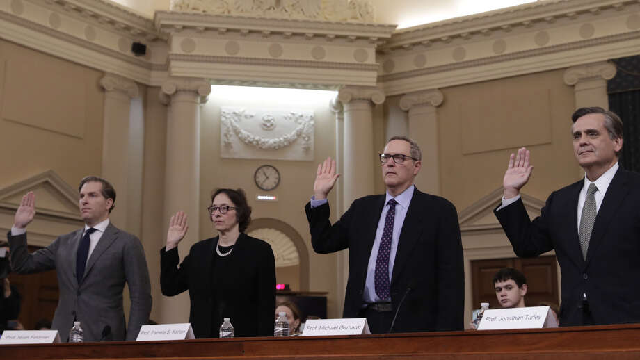 From left: Noah Feldman, PamelaKarlan, Michael Gerhardt, and Jonathan Turley are sworn in at the House Judiciary impeachment hearing in Washington, D.C., on Dec. 4. Photo: Washington Post Photo By Matt McClain / The Washington Post