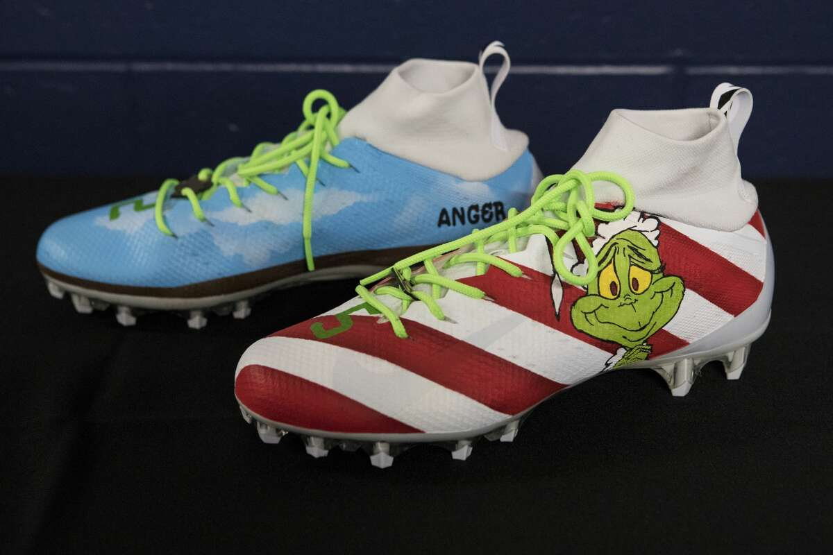 PHOTOS: See the specialized cleats for several Houston Texans players Houston Texans running back Duke Johnson's cleats, designed to raise awareness for anger management, are shown during the unveiling of the NFL players' My Cause, My Cleats campaign at NRG Stadium on Wednesday, Dec. 4, 2019, in Houston. For the fourth year, NFL players will have the chance to share the causes that are important to them during Week 14 of the NFL season. More than 950 players across the NFL plan to participate, with a later opportunity to raise funds for their causes by auctioning off their cleats at NFL Auction. All but three of the Texans' cleats were designed by SolesBySir.