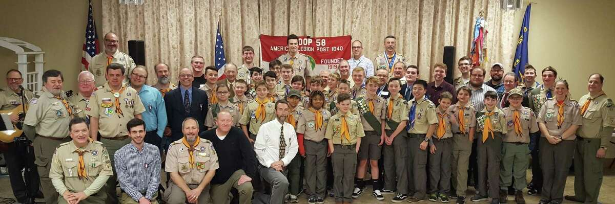 Scouts and adult Scout leaders past and present from Boy Scout Troop 58 in Elsemere gathered to celebrate the 100th anniversary of Troop 58. More than 150 people attended a Nov. 16 dinner at the Nathaniel Adams Blanchard American Legion Post in Delmar to commemorate the anniversary. The group heard from troop scoutmasters from decades past, heard the history of the troop dating back to its founding in Elsemere in 1919, and celebrated the impressive number of Eagle Scouts who learned character and leadership skills as members of the troop.