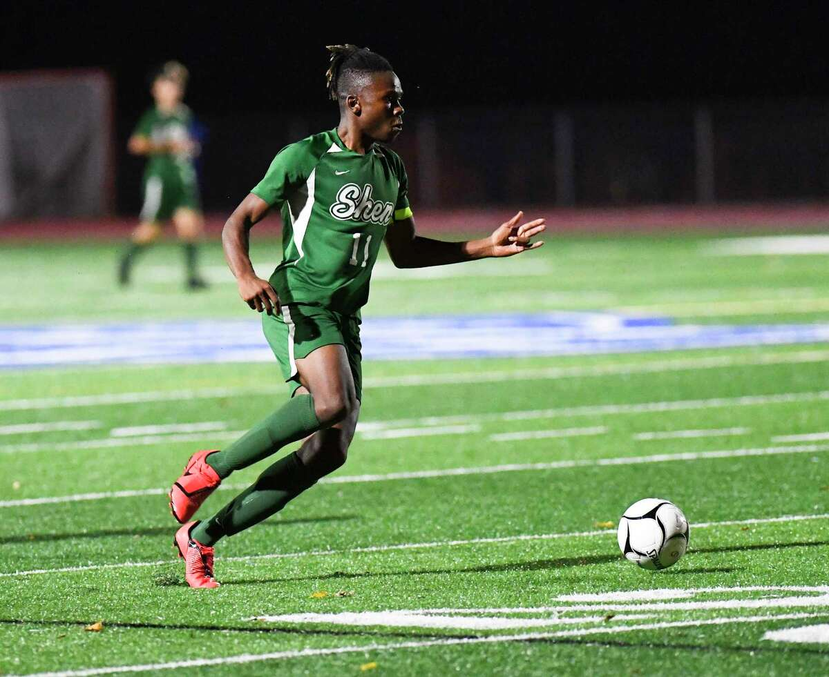 Shenendehowa's Jaylin Sykes (11) scores a goal against Albany during a Section II Class AA boys' soccer semifinal game in Troy, N.Y., Thursday, Oct. 31, 2019. Shenendehowa won the game 3-0. (Hans Pennink / Special to the Times Union)