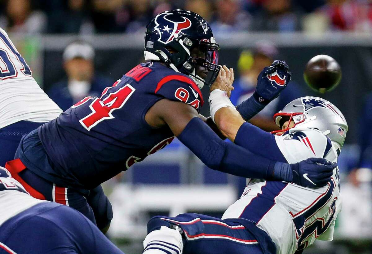 Though he was disappointed at not sacking Tom Brady on Sunday, Texans defensive end Charles Omenihu came close on this play, at least forcing the Patriots QB to throw the ball away.