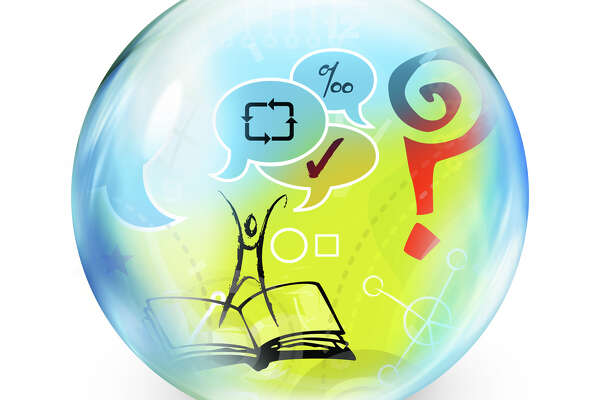 Illustration of bubble with figure standing on book with speech bubbles and symbols
