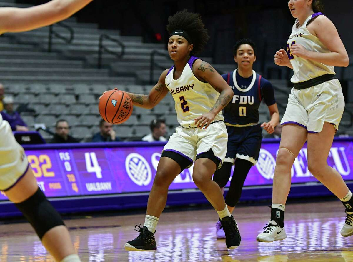 University at Albany's Kyara Frames drives to the hoop during a basketball game against Fairleigh Dickinson at SEFCU Arena on Wednesday, Dec. 4, 2019 in Albany, N.Y. (Lori Van Buren/Times Union)