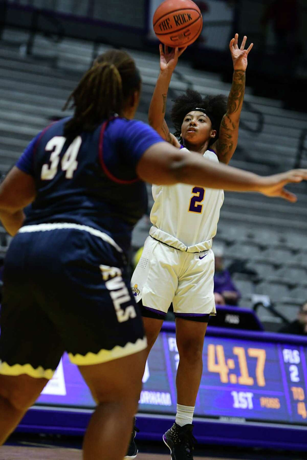University at Albany's Kyara Frames puts up a shot during a basketball game against Fairleigh Dickinson at SEFCU Arena on Wednesday, Dec. 4, 2019 in Albany, N.Y. (Lori Van Buren/Times Union)