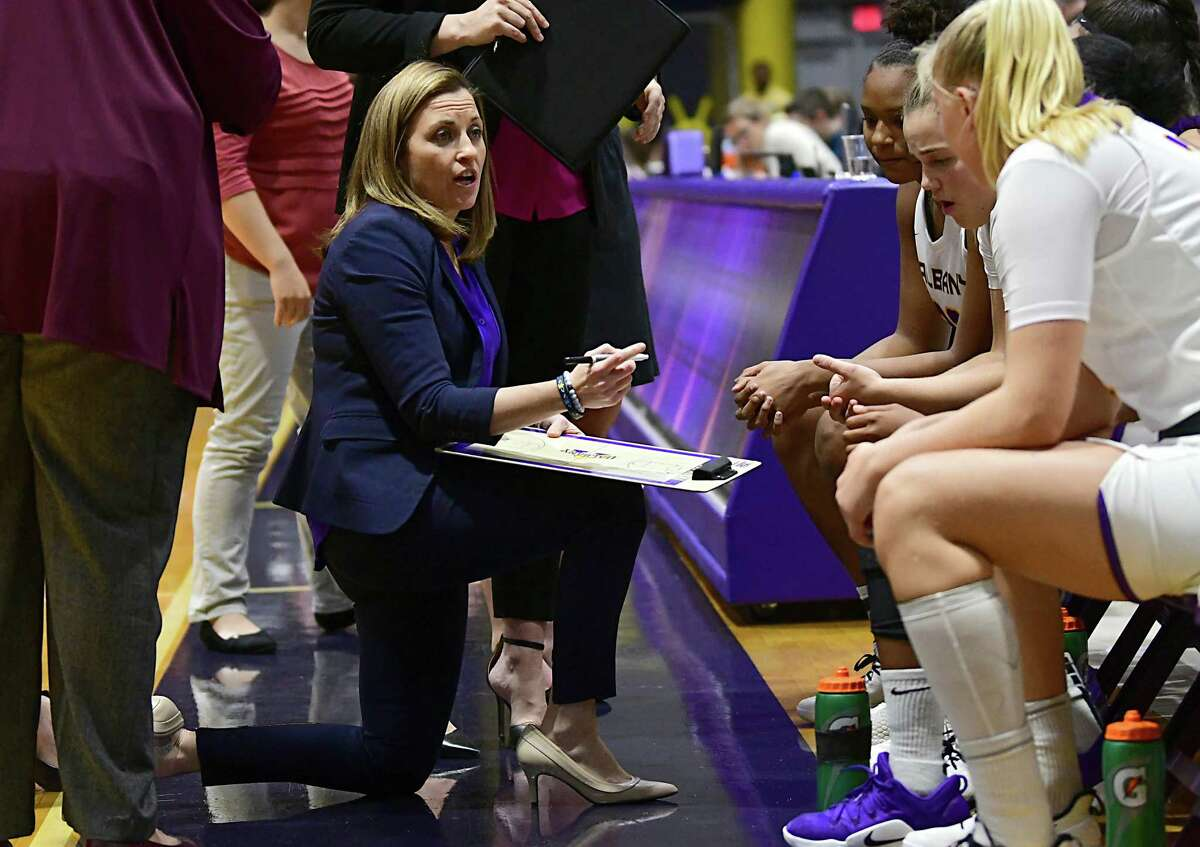 University at Albany head coach Colleen Mullen talks to her players at a timeout during a basketball game against Fairleigh Dickinson at SEFCU Arena on Wednesday, Dec. 4, 2019 in Albany, N.Y. (Lori Van Buren/Times Union)